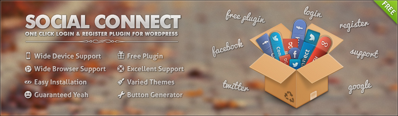 Social Connect plugin for Facebook, Google and Twitter